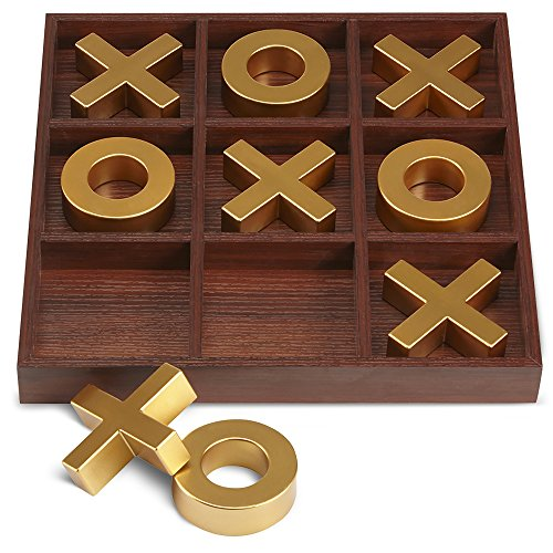 "- REFINERY AND CO. 10 Piece Premium Solid Wood Tic-Tac-Toe Board Game, Giant Gold 14"" Outdoor/Indoor Party Set Toy For Children/ Adults, Perfect For Backyard Entertainment, Classic Coffee Table Home Déc"