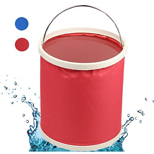 Wine Cooler Barrel (Momsbabe Collapsible Bucket Portable Fishing Camping Beach Car Washing Pail Beer Wine Cooler Wash Basin Folding 11L Water Container)