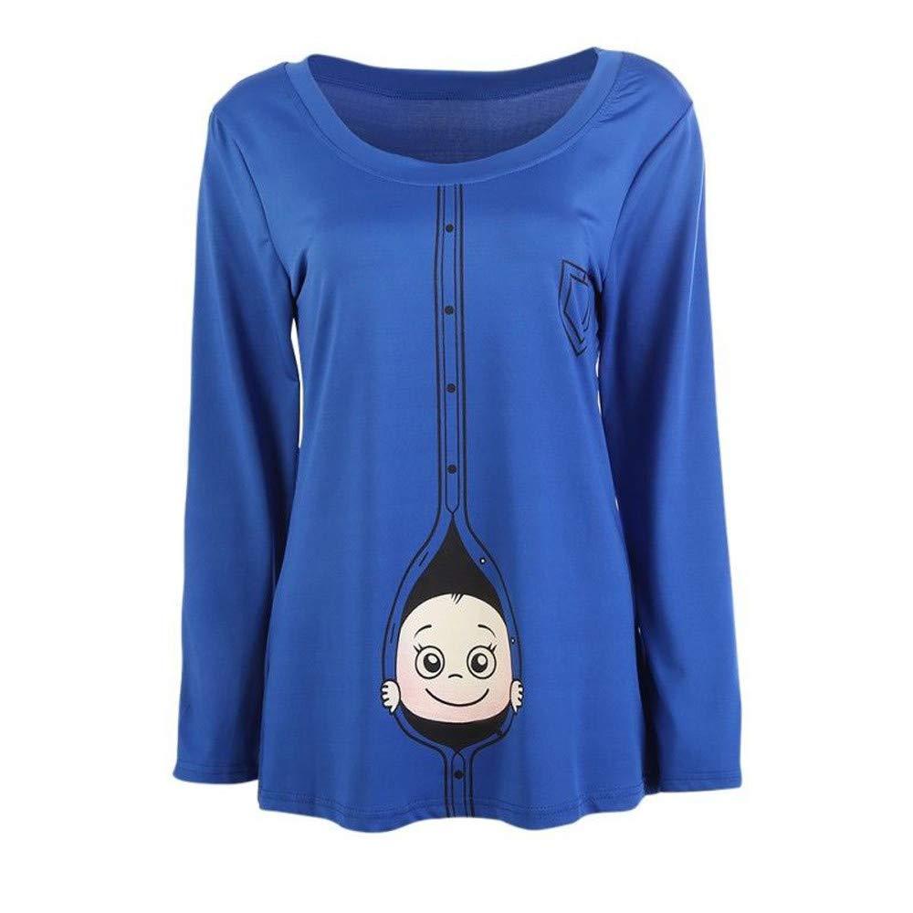 Romance8 Large Size Pregnant Women T-Shirt Long Sleeve Cute Top