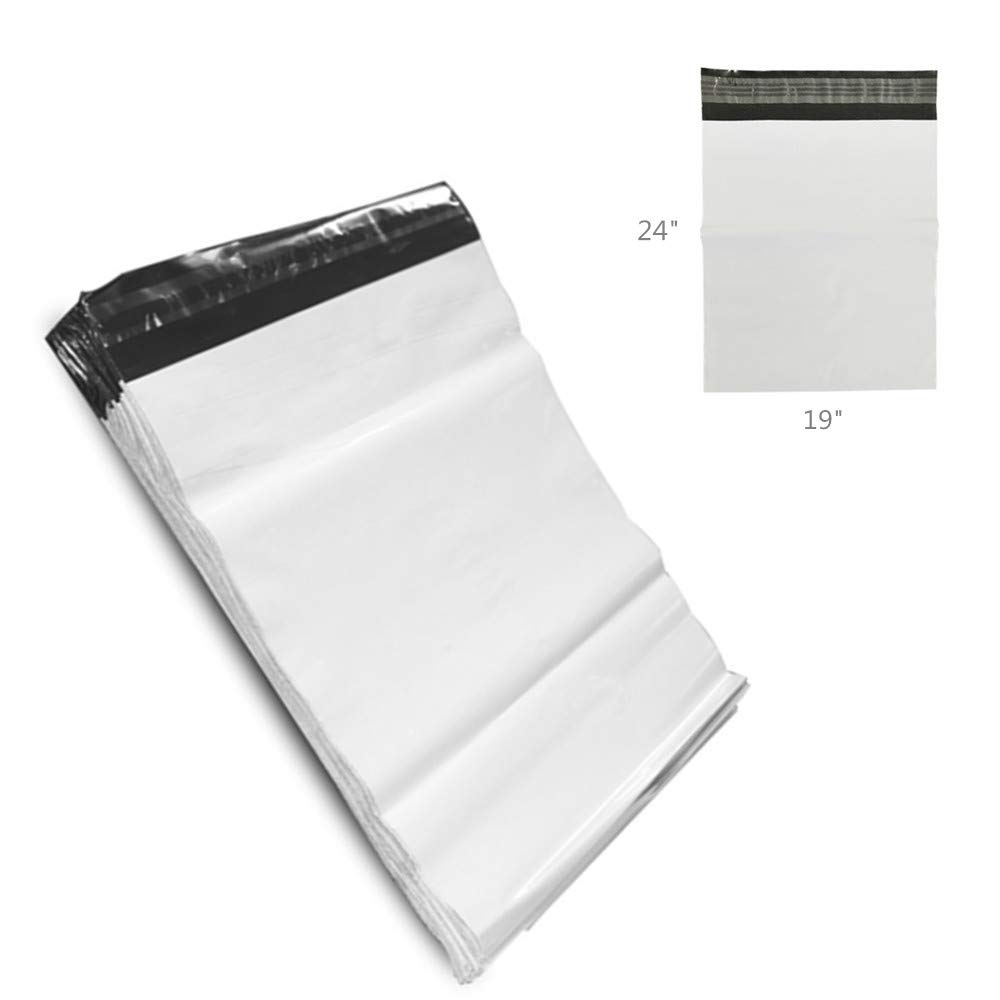 Shipping Bags,MeetRade 100PCS White Poly Mailer Envelopes Shipping Bags with Self Adhesive, Waterproof and Tear-Proof Postal Bags Packaging Materials Shipping Supplies (19''x24'') by MeetRade