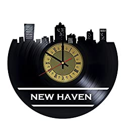 New Heaven Connecticut design vinyl record wall clock - gift idea for boys girls adults men and women - home & office kitchen bedroom wall decor - customize your clock