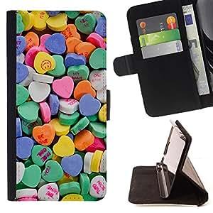 - Queen Pattern FOR Sony Xperia Z2 D6502 /La identificaci????n del cr????dito ranuras para tarjetas tir????n de la caja Cartera de cuero cubie - candy valentines blue love hearts