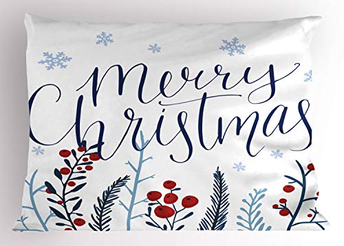 "Lunarable Merry Christmas Pillow Sham, Botanical Berries and Snowflakes Falling Snow New Year Winter Illustration, Decorative Standard Size Printed Pillowcase, 26"" X 20"", Red Blue"