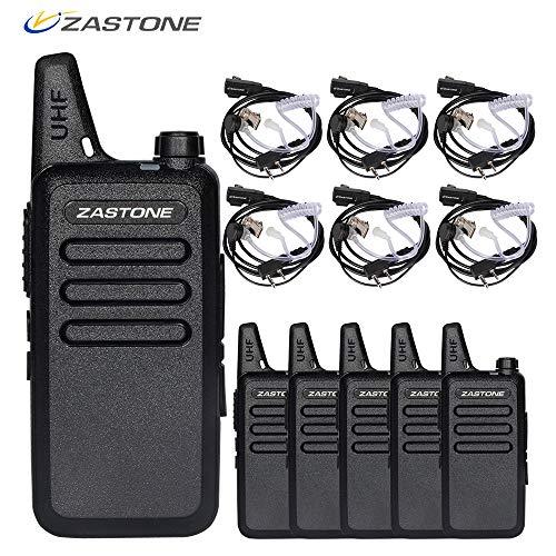 Zastone X6 Walkie Talkie with Earpiece 3W 16-Channel UHF 400-470Mhz Rechargeable Long Range Two-Way Radios 6 Pack