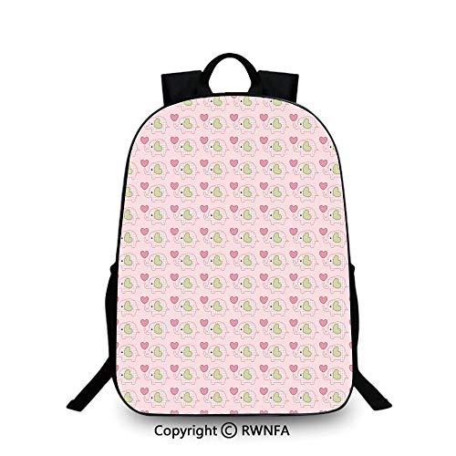 - Campus Both shoulders school bag,Elephants in Tartan with Hearts Dots Love Animal Kids Childish Design Decorative School Backpacks For boys Pistachio Green Rose Pink
