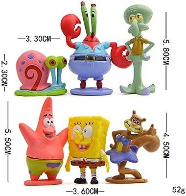 Squidward Plankton Patrick Sandy Gary DeQian 8pcs Spongebob Figures Cake Topper,Figure Action Set