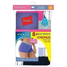 Hanes Women`s Cool Comfort 8-Pack Sporty Boy Brief