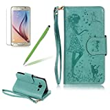 Premium PU Leather Wallet Pouch, Girlyard Creative Design Folio Flip Wallet Case with Magnetic Closure Stand Protective Case Cover[Girl Feeding Flying Bird and Dog] For Samsung Galaxy J3, Mint Green