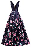 Sexy Long Evening Dress for Women Floral Print Prom Dress Floor Length Navy,10