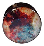 00g space - PAIR of Galaxy Outer Space Style Acrylic Screw Fit Tunnels Stash Plugs (Style 4 - 00g (10mm))