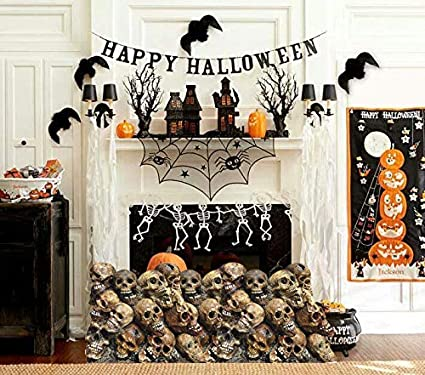 aahs engraving halloween haunted house life size cardboard stand up pile of skulls