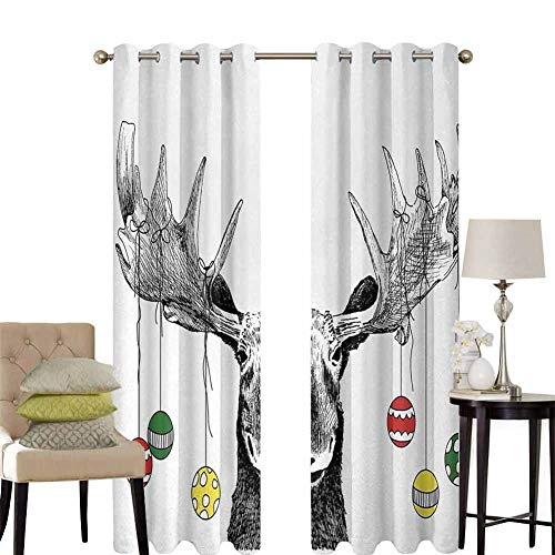 hengshu Moose Room Darkening Curtains for Bedroom Christmas Moose with Xmas Ornaments Balls Hanging from Horns Funny Noel Sketch Art Pattern Curtains Long W52 x L84 Inch Multicolor