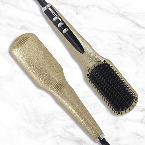 Hair Straightening Brush 2.0, Gold - Tourmaline Infused Ceramic Plates - For All Hair Types: Fine, Thick, Wavy - Anti-Scald Technology - Heats up in only 60 seconds