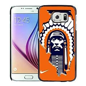Illinois Fighting Illini Black Samsung Galaxy S6 Screen Cover Case Genuine Design High Quality