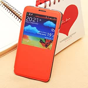Otterca Orange View Open Window Flip Cover PU Leather Skin Shell Case with Stand Holder for Samsung Galaxy Note3 NOTE 3 N9000