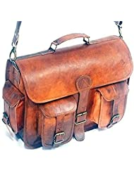 Handolederco ND 18 Inch Vintage Handmade Leather Messenger Bag for Laptop Briefcase Satchel Bag