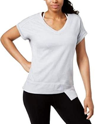 6193304b Image Unavailable. Image not available for. Color: Calvin Klein Performance  Women's V-Neck Asymmetrical-Hem Top ...