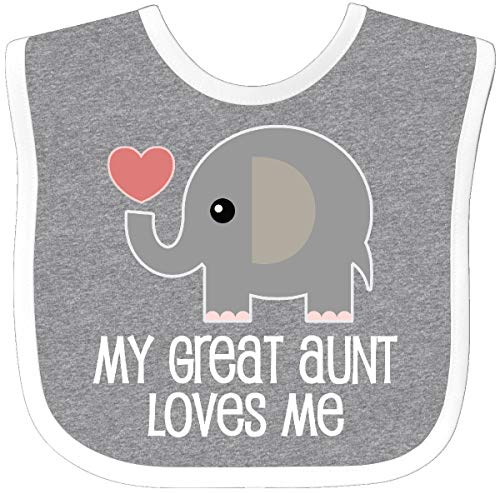 Inktastic Great Aunt Loves Me Elephant Baby Bib Heather/White