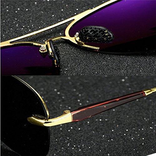 polarizadas A de lente hombre Gafas Color clásico de Espejo B montura sol sol sin retro gafas metal 1FEaaHwq