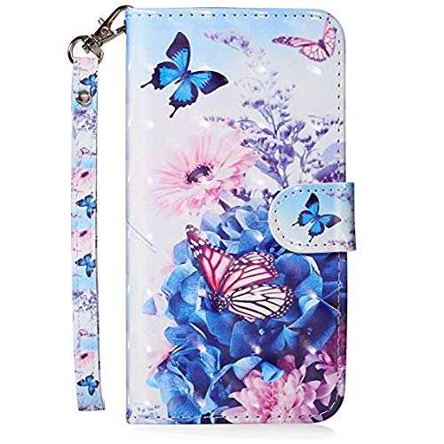 Felfy Kompatibel mit iPhone 5C H/ülle Tasche Leder PU Handyh/ülle 3D Creative Bunt Muster Leder Wallet Case Flip Cover Klapph/ülle Brieftasche Lederh/ülle mit Kartenf/ächer Schmetterling