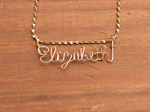 Hand Scripted 14K Gold Filled Personalized Name Necklace Elizabeth - Gold Necklace Lila