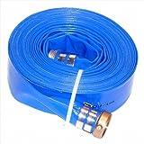 JGB Enterprises Eagle Hose Eagleflo Eagle PVC Discharge Hose Assembly, Blue, 3'' Male X Female Water Shanks , 70 PSI Maximum Pressure, 3'' Hose ID, 50' Length