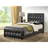 Black - Twin Size - Modern Headboard Tufted Design Leather Look Upholstered Bed