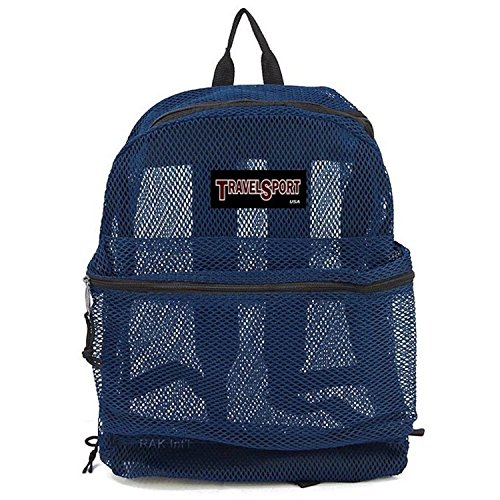 Travel Sport Heavy Duty Mesh Backpack (Navy Blue)