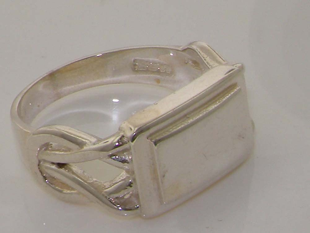 Solid 925 Sterling Silver Mans Reef Knot Signet Identity Anniversary Ring
