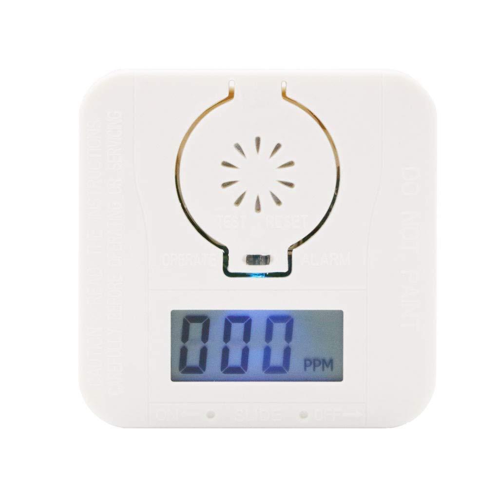 SAYEI CO Carbon Monoxide & Smoke Detector Warning Alarm Clock Poisoning Gas LCD Display Gas Detection