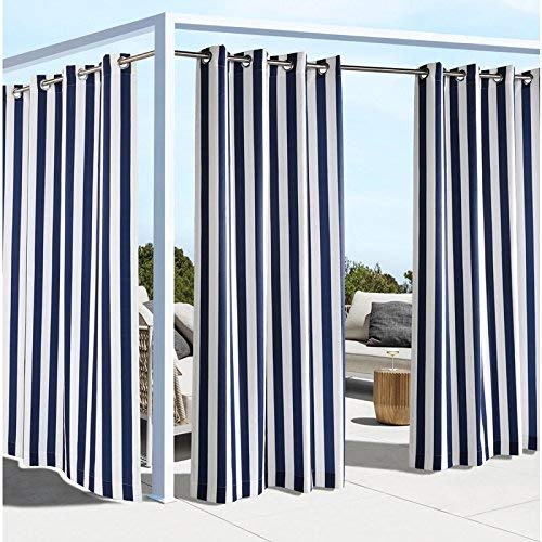 Outdoor Decor Coastal Stripe 84 Cabana Panel, Navy