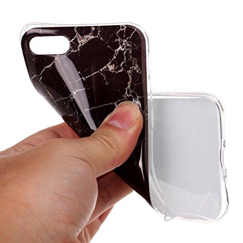 Crisant Schwarzer Marmor Drucken Design weich Silikon TPU schutzhülle Hülle für Apple iPhone 7 4.7'' (4,7''),Premium Handy Tasche Schutz Case Cover Crystal Bumper Schale für Apple iPhone 7 4.7'' (4,7'