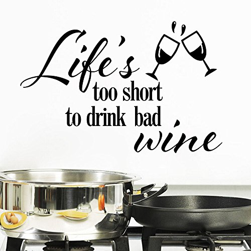 Aiwall 9181 DIY Wall Decal,life Is Too Short to Drink Bad Wine,living Room Wall Sticker Home Decoration Decals