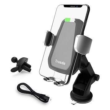 Trusda Cargador Inalámbrico Coche, 10W Cargador de Coche Soporte Móvil Aplicable Soporte a Rejillas del Aire para iPhone XS Max/XR/X/8/8 Plus y ...