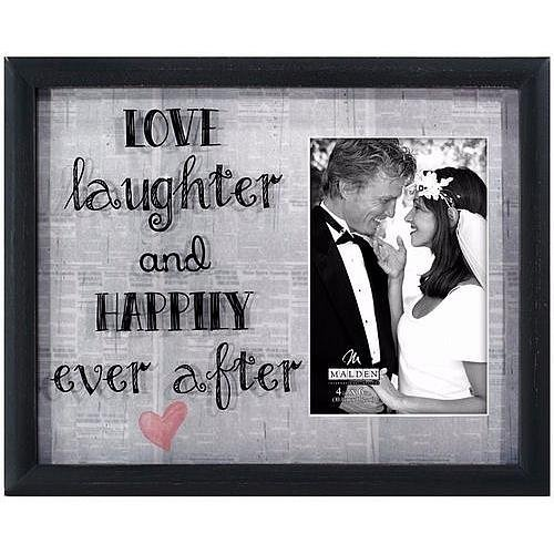 (Malden International Designs Newsprint Sentiments Love Laughter and Happily Ever After Shadow Box with Silkscreen Glass and Printed Mat Picture Frame, 4x6, Black)
