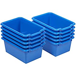 ECR4Kids Scoop Front Storage Bins, Blue (10-Pack)