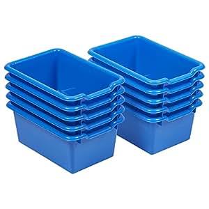 ECR4Kids Scoop Front Storage Bins, Blue (10-Pack)