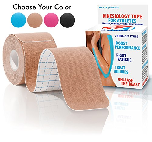 Kinesiology Tape - 20 Pre-cut Strips , Nude , with Bonus eBook