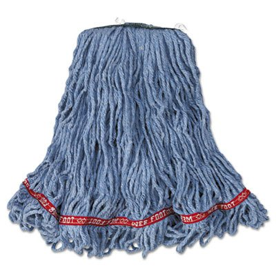 Rubbermaid Commercial A11206 BL00 Web Foot Looped-End Wet Mop Head, Cotton/Synthetic, Medium Size, Blue (Pack of 6)