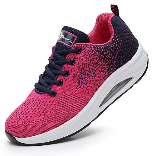 JARLIF Women's Comfortable Platform Walking Shoes Breathable Casual Tennis Air Fitness Sneakers US5.5-10 PinkBlack 6.5 B(M) US