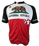 California Republic - Mens Short Sleeve, Club Cut, Cycling Jersey (Large)