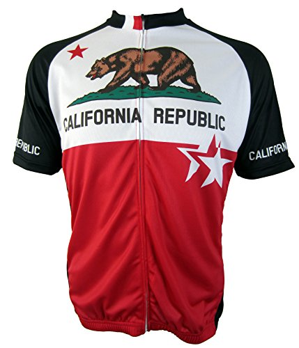 California Republic - Mens Short Sleeve, Club Cut, Cycling Jersey (Large) - Club Cycling Jersey