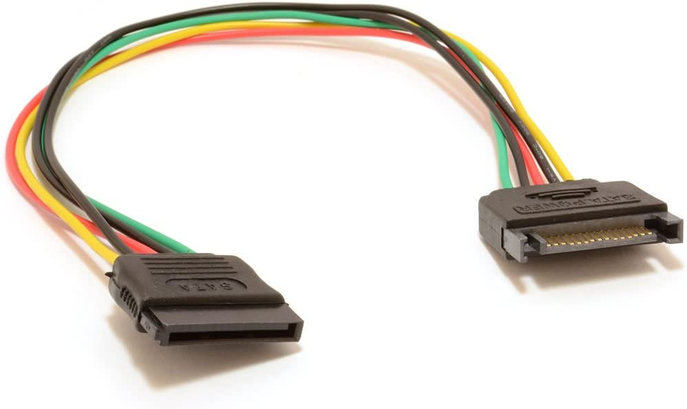 Cable Length: 30cm, Color: Carbon Computer Cables Single Sleeved SATA 15Pin Male to Female Power Extension Cable
