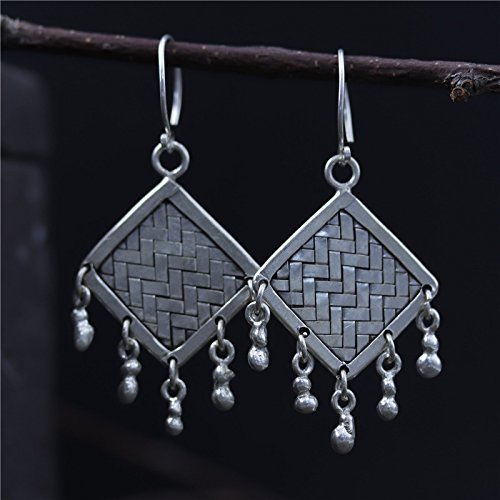 Tribe Silver 30mm - Hand Crafted Vintage S925 Silver 47*30 mm Woven Tassel Earrings With Gift Box Packing,Sterling Silver Texture Drop Earrings,Gift For Her