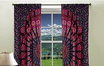 Boho Living Room Curtains Bohemian For Bedroom Tapestry Mandala Hippie Dorm
