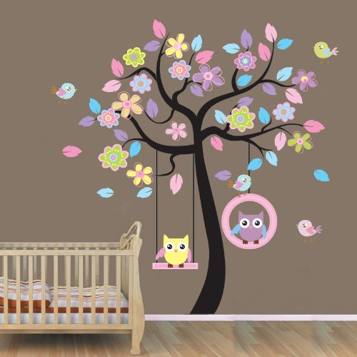 WallStickersUSA Wall Sticker Decal, Beautiful Tree with Hanging Owls Pink Flowers, X-Large (Baby Girl Room Decor)