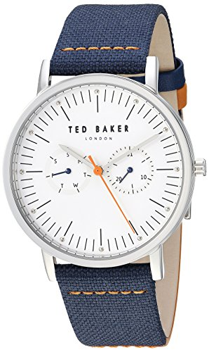 Ted Baker Men's 'BRIT' Quartz Stainless Steel and Leather Casual Watch, Color:Blue (Model: TE50274001)