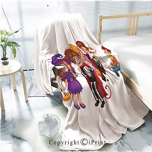 Printed Soft Blanket Premium Blanket,Cute Colorful Halloween Kids