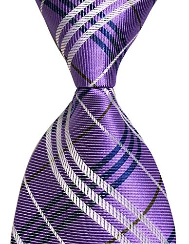 Secdtie Men's Classic Checks Purple Jacquard Woven Silk Tie Formal Necktie ()