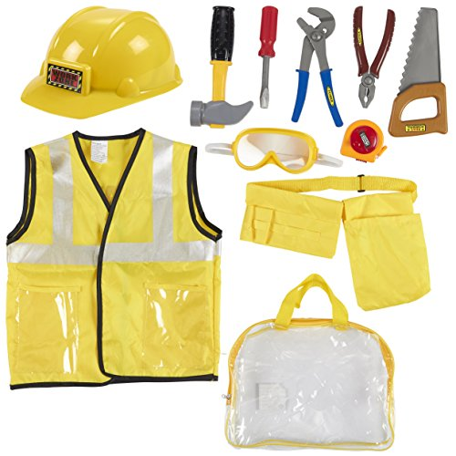 (Kids Role Play Costume Set - 10-Piece Construction Worker Costume for Kids, Builder Dress Up Kit with Hard Hat, Tool Belt, Vest, and Other Accessories for Pretend Play, Halloween Dress)